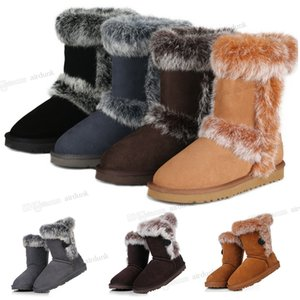 Designer ug womens australia australian boots women winter snow Rabbit fur furry fluffy Middle tube fashion warm satin boot ankle booties leather wgg outdoors shoes