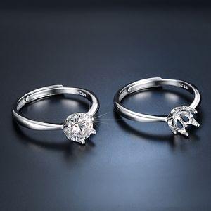 High end Mosangshi six claw female 1 imitation diamond silver wedding ring live broadcast