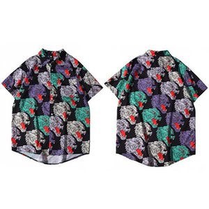 Hip Hop Shirt Leopard Head Print Men Hawaiian Streetwear Harajuku Beach Short Sleeve Summer Aloha Shirts Thin Men's Casual Top