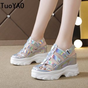 Summer Women Sandals Silver Wedge Heels Sneakers Silver Round Toe High Heels Platform White Flip-Flops Thick Bottom Sandals New