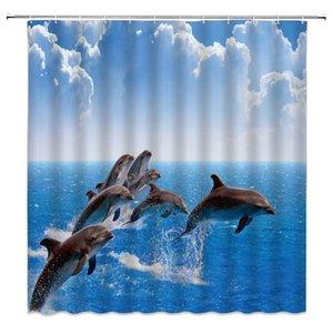 Dolphin Ducha Cortina Océano Mar Animal Grupo de delfines Saltó fuera del mar Niños Niños Niñas Niñas Azul Agua Mar Cloud Tela Baño