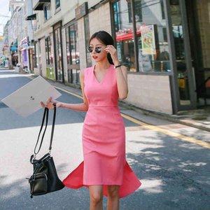 Mingjiebihuo moda vestido de verano sin mangas con elegante trabajo de fiesta