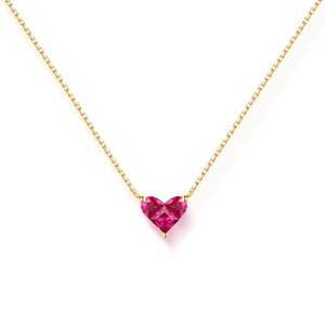 Lovely Red Heart Pendant Necklac Genuine Solid 14k Gold Natural Corundum Necklace
