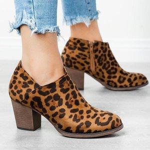 Сапоги женские леопардовые лодыжки высокие каблуки осень зима искусственные кожаные дамы пинетки старинные платформы молнии западная женская обувь
