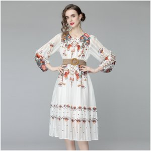 Spring and Autumn Women's Printing Dresses O-Neck Long Sleeve Lady's Sliming Dress Fashion Elegant A Wear