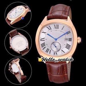 41mm DRIVE DE WGNM0003 Relojes Blanco Dial Swiss Quartz Mens Reloj de oro rosa Caja de oro Correa de cuero Marrón Deporte Relojes de pulsera de alta calidad 5 Color Hello_Watch