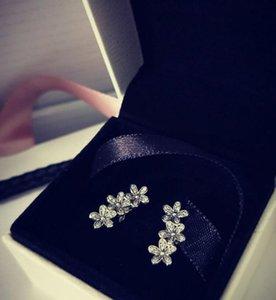 لطيف 925 الفضة الاسترليني ديزي الزهور الكريستال مربط القرط ل باندورا الفضة مجوهرات للنساء مع مربع الأصلي WJL4749
