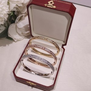 Luxury snap jewelry charm bracelet Gold Silver Bracelets With Diamond Bangles for Couples Lovers Valentines Day gift