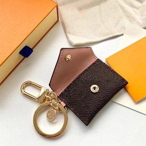 Designer Letter Wallet Keychain Keyring Fashion Purse Pendant Car Chain Charm Brown Flower Mini Bag Trinket Gifts Accessories no box