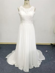 Chiffon wedding dress China new autumn bride gown boat neckline beautiful bridal veil Plus Size cotton over Lace sweep train custom design sleeveless high quality