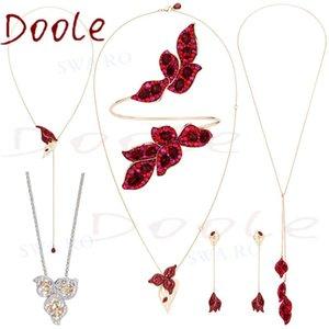 SWA Haute Qualité Mode Charm Pétales Brilliant Moon Creek Red Camélia Crystal Mesdames Collier Romantique Bijoux Cadeau