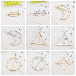 Partido Favor Promoción Trendy Vintage Círculo Labio Luna Luna Triángulo Pin Pin Clip Hearpin Pretty Womens Girls Metal Jewelry Accesorios ZWL219