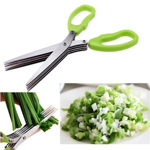 Stainless Steel Cooking Tools Kitchen Accessories Knives 5 Layers Scissors Sushi Shredded Scallion Cut Herb Spices
