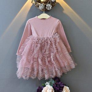 2021 Primavera Bambina Principessa Dress Solid Pulpy Manica lunga Gonna a manica lunga 8802