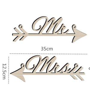 Pendentif Fête de corde Pendentif Arts Artisanes Lettre de widget Mr et Mme Wood Pendans arrow SignPost Célébration de mariage Décorer DHF5944
