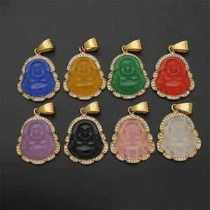 Zircone cubico MAITREYA Buddha collana pendente per le donne uomini corda catena grande pancia collana buddha collana hip hop gioielli regali di Natale 823 R2