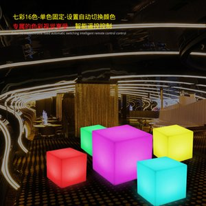 RGB Rechargeable Led illuminated Furniture Cube Stool Seat Glowing Chair With Remote Outdoor Use Gadget Home Party Decor Decoration