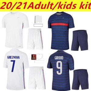 202120 21 Hommes Kit Kit Kit + Chaussette France Accueil Jersey de football 21-2 22 Eache de Mbappe Grieuzmann Kante Pogba Maillots de Football Maillot Equipe français