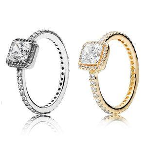 Bague de diamant en argent sterling CZ réel 925 avec logo Boîte d'origine Fit Pandora Style 18K Gold Mariage Engagement Bijoux pour femmes 5 m3