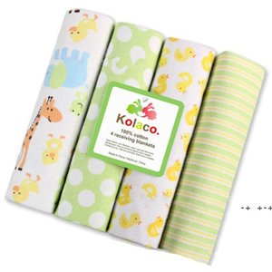 Newborn Blanket Baby Swaddle Bath Towels Flannel Cotton Towels Air Condition Towel Cartoon Printed Swaddling Stroller Cover FWA8736