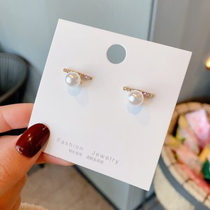 Wholesale price classic design studs titanium steel screw with drill earrings semi-circular opening with drill earrings for women gift 40