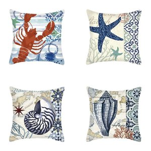 Marine Animals Octopus and Turtle Print Pillow Case Creative Sofa Cushion Cover Festival Home Decoration T500538