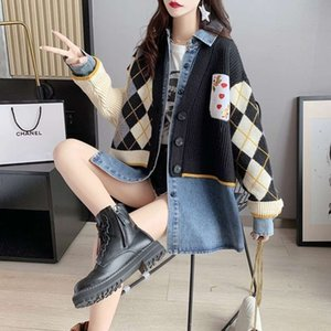 Fake zwei Pullover Frauen Lose Fitting Kleid 2020 Neue Herbst und Winter Faule Stil Hemd Nähen Gestrickte Top Student Trend