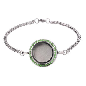 5pcs lot 3MM Stainless Steel Chain With Glass+steel Locket Bangle Living Memory 30mm Women Bracelet For Floating Charms Link,