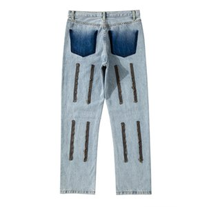 2021fwss New Style Men's Distressed Destroyed Pants White Ripped Patches Light Blue Skinny Biker Jeans Slim Trousers