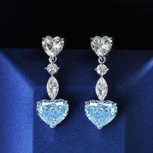 Dangle & Chandelier Heart Aquamarine Diamond Earring 100% Original 925 Sterling Silver Party Wedding Drop Earrings For Women Charm Jewelry