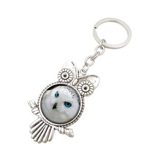 Best gift Retro Owl Time Gemstone Metal Keychain Hot Glass Keychain KR149 Keychains mix order 20 pieces a lot OK YAS 168 W2