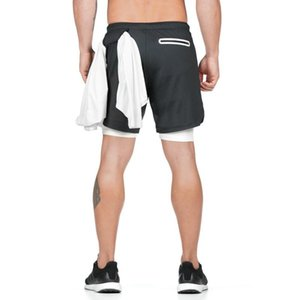 Men 2 In 1 Double Quick-Drying Fitness Shorts Sports Mens Athletic Short Running Training Gym Sportswear Jogging Men's