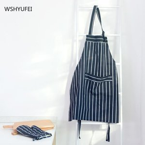 Nordic Household Baking Apron Anti-fouling Cleaning Heat Insulation Anti-scalding Korean Blue Striped Gloves Durable Aprons