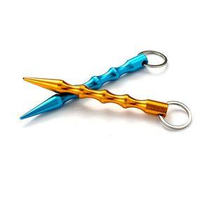 2021 Пресс Лифт Инструмент Алюминиевый Оружие Самообороны Безопасность Для Женщин Девушка Спайк Stick Брелок Ключ Цепочка