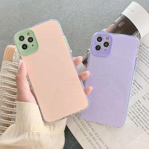 Защита от камеры Бампер Чехлы для телефонов для iPhone 12 11 Pro X XR XS MAX MINI 7 8 PLUS SE Флуоресцентная задняя крышка