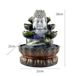 Création Décorations de la maison Résine Flowing Water Water Chute d'eau LED Fontaine Bouddha Statue Lucky Feng Shui Ornements Paysage Décor 248 S2