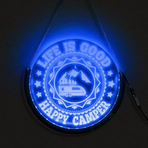 Life Is Good LED Hanging Neon Sign Happy With Camper Decorative Wall Lamp RGB Lighting Remote Control Camping Gift For Traveller