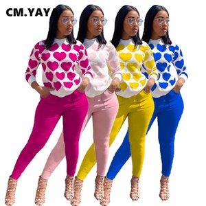 CM.YAYA Sportwear Women's Set Love Print Sweatshirt Jogger Pants Set Tracksuit Matching Two Piece Outfit Active Sweatsuit Y0625