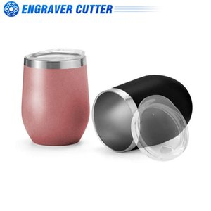 12oz Rose Gold Stainless Steel Red Wine Tumbler Mugs With Sublimation Coating And Direct Drinking Lid Water Bottles