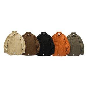 Otoño Chaqueta Casual Retro Tendencia Salvaje Sólido Herramientas de Color Sólido Básico Camisa de cinco colores 2021 camisas de los hombres