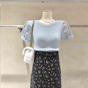 한국어 패션 니트 스웨터 봄과 여름 꽃 반팔 티셔츠 탑 여성 의류 210520