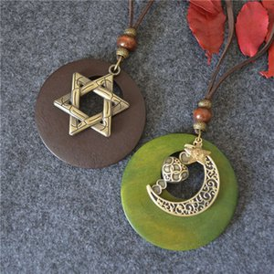 pendants pendants National style cotton and hemp accessories big log Star Moon Pendant Long Necklace sweater chain