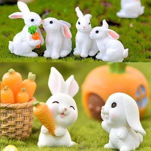 Mignon lapin fête de la fête de Pâques ornement de résine miniatures mini-maine Mini lapin Fairy Jardin Fournitures Accueil Figurine Animal T9I001206