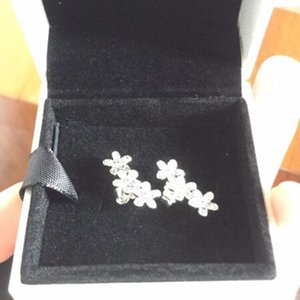 925 Sterling Authentic Silver Flowers Earring with box Signature with Crystal for Pandora Jewelry Stud Earring Women's Earrings ps0884 2021