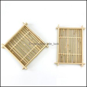 Dishes Dinnerware Kitchen, Dining Bar Home Gardendishes & Plates 2Pcs Serving Plate Bamboo Fruit Tray Cooking Steamer Rec Handmade Rattan Te