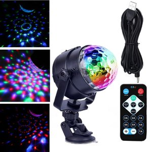 USB Car Stage Lighting Auto Rotating Crystal Magic Ball With Suction Cup RGB Mini Stages Lights Dream Color Easy Install Sucker