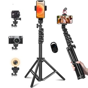 Mobile phone tripod stand, 150 cm selfie stick, suitable for Gopro iPhone, with remote universal Bluetooth