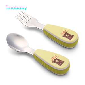 Children Stainless Steel Fork Spoon Set Complementary Food Training Baby Spoon Children Non-Slip Silicone Tableware