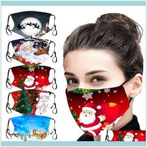 Christmas Festive Supplies Sale Garden50Pcs Masks Home & Santa Claus 3D Digital Printing Face Dustproof Ice Silk Washable Party Mask Drop De