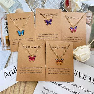 2021 Korean Fashion Colorful Cute Butterfly Pendant Necklace For Women Silver Color Statement Paper Card Necklace Jewelry Gift